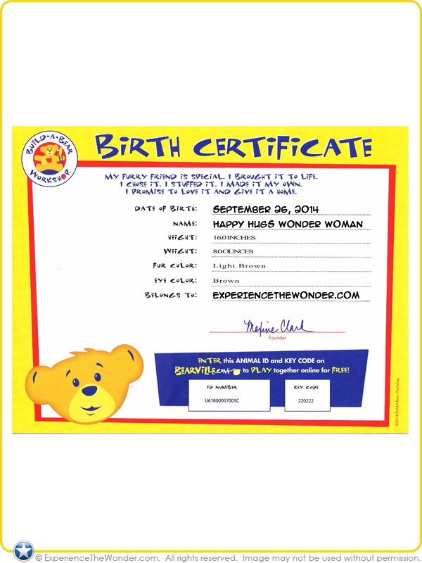 Build a bear workshop dc comics happy hugs teddy in wonder woman costume with wig for Build a bear birth certificates